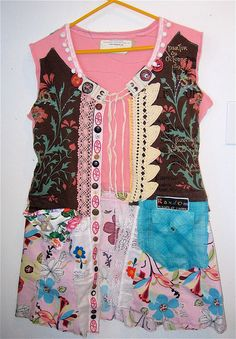 Birthaday Girl PARTY Dress Wearable Art Collage Lots of Vintage mybonny