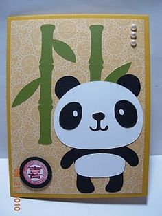 Adorable panda card! It came together super quick because the panda was made using the 3M Post-it Brand Craft Paper. This paper definitely makes your Cricut projects super fast!