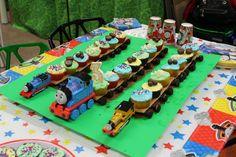 *Thomas the Train cake* Thomas Birthday Cakes, Thomas Birthday Parties, Thomas The Train Birthday Party, Trains Birthday Party, Birthday Fun, Train Party, Third Birthday, Train Cupcakes, Birthday Cupcakes