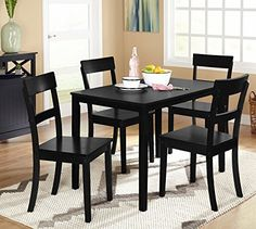 Target Marketing Systems Ian Collection 5 Piece Indoor Kitchen Dining Set with 1 Dining Table and 4 Chairs Black >>> Details can be found by clicking on the image.Note:It is affiliate link to Amazon.