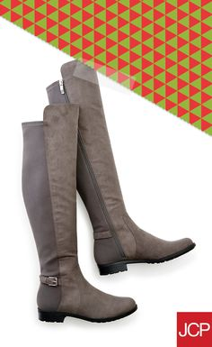 Two-tone boots make a too-fabulous look. Over-the-knee boots will keep you comfy and stylish no matter how many laps around the airport, or the kitchen, you'll have to do this holiday season.
