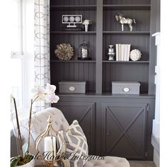 Benjamin Moore Kendall Charcoal grey cabinets built ins (office wall cabinets bookshelves) Grey Painted Walls, Painted Built Ins, Repurposed Furniture, Painting Cabinets, Home Remodeling, Home, Painted Furniture, Living Room Furniture, Kitchen Cabinets Painted Grey