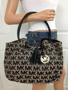 Nwt Michael Kors Black Beige Mk Signature Large Shoulder Ring Tote Bag Purse #MichaelKors #ShoulderBag