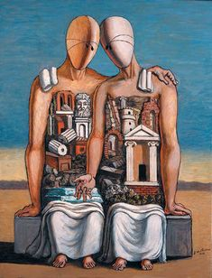 Art History News: Giorgio de Chirico and Greece: Voyage through Memory-Giorgio de Chirico, The Archaeologists, 1968, Oil on canvas, 84,5 X 64,5 cm. Signed lower right G. de Chirico 1968. © 2007 Artists Rights Society (ARS), New York / SIAE, Rome. © Fondazione Giorgio e Isa de Chirico, Rome. Inv. 94