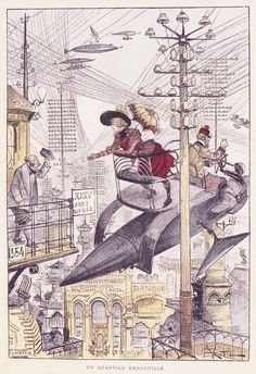 Albert Robida (1848-1926) Illustration du Vingtième siècle (1883)