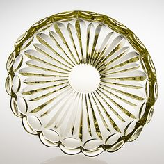 "AIMO OKKOLIN - Glass bowl ""Kullero"" (Globeflower) for Riihimäen Lasi Oy, Finland. - Cerium-yellow, faceted-cut glass. - [Ø 30 cm]"