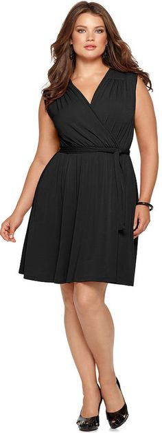 NY Collection Plus Size Dress, Sleeveless Faux Wrap Belted. I love this dress, its amazingly versatile enough for a wedding and for running groceries!