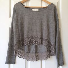 NWOT High-Low Long Sleeve Top ✨NWOT✨ High-low long sleeve top with lace trim. Abercrombie & Fitch Tops Tees - Long Sleeve
