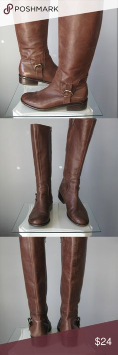 Meet Too Brown Leather HarnessBoots Size 8.5 Basic Tall brown boots Genuine Leather  Side Zip  Buckle details Size 8.5 There are used, and show signs of having been worn and loved.  Scratches on the leather and some wear on the soles.  Please see all the photos. Thanks for looking! #23423 Me Too Shoes