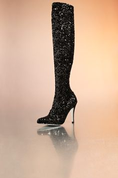 Does this black heeled boot have enough sequins? NEVER! – Sequin boot