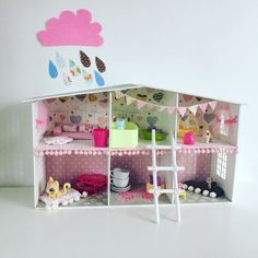 Handmade wooden doll house decoupage by DumontsHandicrafts on Etsy
