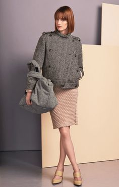Cables mix wool jumper Cables mix wool cardigan Woolen herringbone blouson Cables mix wool skirt