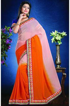 Orange Designer Party Wear Sarees From Onlinesareessshopping.com