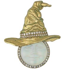 35th Anniversary - Bewitching Seaview Moon Witch Hat Pin Pendant w FREE Necklace (Goldtone/Crystal): Kirks Folly Online Web Store