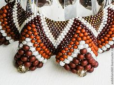 """Купить Ожерелье """"Кофе Арабика"""". - разноцветный, ожерелье из бисера, Ожерелье ручной работы"""
