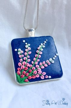 "Pendant ""Peach Blossom"" of polymer clay on metal silver cameo base"