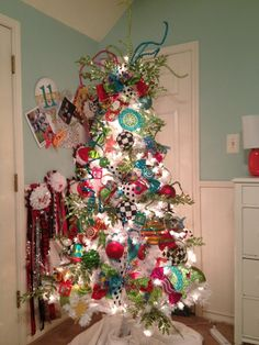 Christmas Trees-Teen Tree with funky colors on a #white#tree- maybe kids get tree upstairs next yr