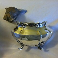 Silver Footed Waste or Sugar Bowl Vintage Reed от PamsPawsJewelry