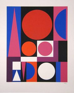 Auguste Herbin  used a strictly two-dimensional painting style with simple geometric forms