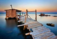'Stilt hut in the Delta of Axios river' by Hercules Milas Thessaloniki, Greece Travel, Travel Around The World, Beautiful World, Macedonia Greece, Scenery, Greek, Europe, River
