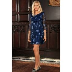 Navy Floral Empire Waist Three-Quarter Sleeve Dress - Women Maternity