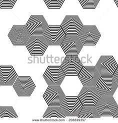 Volumetric 3D pyramid seamless pattern. hexagon. Optical illusion background. Black and white lines. vector  by EkaterinaP, via Shutterstock...: