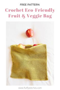 Learn to make your own reusable shopping bags with this absolute beginner pattern for a Crochet Eco-Friendly Fruit & Veggie Bag and help reduce plastic! Crochet Fruit, Crochet Bags, Knitted Bags, Cute Crochet, Knitted Blankets, Summer Patterns, Crochet Patterns For Beginners, Knitting For Beginners, Knitting Patterns Free
