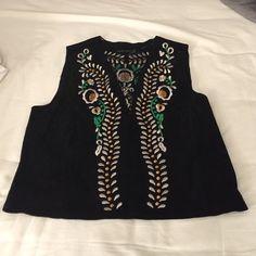 Embroidered black suede Zara vest Gorgeously embroidered black suede vest. Never worn Zara Jackets & Coats Vests