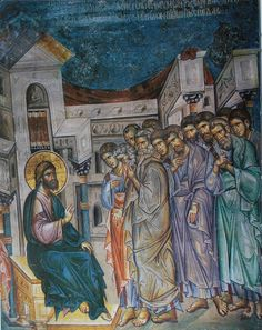 Holy and Great Thursday. The Lord explains the meaning of the washing of the Apostles' feet. Fresco in Vatopedi Monastery, Mt. Byzantine Icons, Byzantine Art, Religious Icons, Religious Art, Fresco, The Transfiguration, Images Of Christ, Christian Artwork, Church Architecture