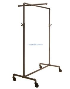 Amazon.com: Coal Grey Single Rail Pipeline Collection Rolling Clothing Rack (w/ cross bar; large size): Home & Kitchen