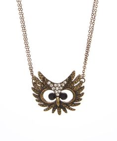 Look at this #zulilyfind! Patina Gold & Crystal Owl Pendant Necklace #zulilyfinds