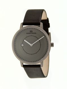 Danish Design Mens Lars Pedersen Stainless Watch - Black Leather Strap - Grey Dial