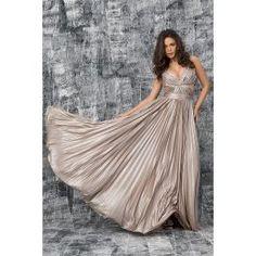 Rochie cu pliseuri facute manual pe corset si fusta plisata din material fluid auriu. Corset, One Shoulder Wedding Dress, Elegant, Wedding Dresses, Fashion, Classy, Bride Dresses, Moda, Bustiers