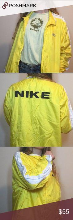 neon yellow Nike windbreaker Neon yellow Nike windbreaker in perfect conditon🌸 fits like a women's size medium👚 ❌NO TRADES❌ Don't like the price? Make an offer!💕 Nike Jackets & Coats