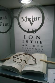 #escaparates #optica. Good Display for #Back To School, #Library Lovers Month in…