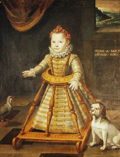 1600 Maria_Apollonia di Savoia in an infant rolling chair | I had one of these as child! Mine was nowhere near as fancy, though.