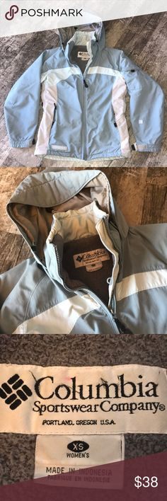 Columbia Coat XS Excellent warm winter coat. Great condition. XS size light baby blue and grey color. Adjustable sleeves, inside pocket and arm pocket! Columbia Jackets & Coats