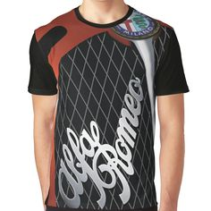 Super soft and comfy t-shirt featuring sublimation printed polyester blend front panel, solid color cotton back/sleeves/rib. Size range suitable for men and women. Sublime Shirt, Alfa Romeo, Female Models, Vivid Colors, Script, Shirt Designs, Comfy, Range, Logo