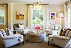 L.A. Home of interior designer Abby Wolf-Weiss / love the circle of 4 chairs, large round ottoman
