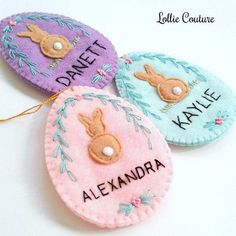 Easter Egg felt Candy Holder personalized Lollie Couture - MADE IN THE USA Modern creations designed to add elegance and rich style to your home & holidays! These eggs have multiple uses and are pretty keepsake or heirloom to treasure and adore. Arrives wrapped, tagged and with a
