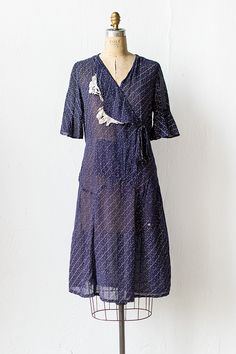 vintage 1930 navy dot dress with lace | In Better Days Dress