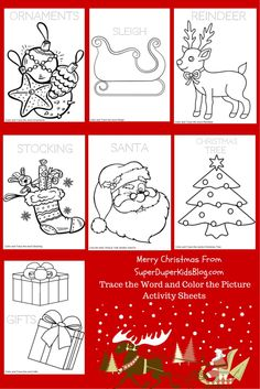 Free Christmas Coloring Pages!! Print them all or just the ones you want! Reindeer, Ornament, Santa, Gift, Christmas Tree, Stocking, Sleigh http://superduperkidsblog.com/free-christmas-coloring-pages/