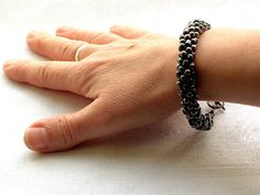 Black and gunmetal Kumihimo bracelet black by FfigysDesigns