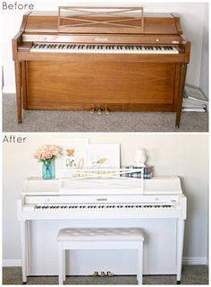 I need a piano.This DIY piano makeover was a dream come true! See how we gave this use piece a new life with some paint and new hardware. Pianos Peints, Repurposed Furniture, Painted Furniture, Refurbished Furniture, Refinish Piano, Furniture Makeover, Diy Furniture, Piano Restoration, Painted Pianos