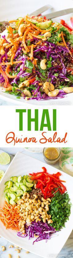 Crunchy Healthy Thai Quinoa Salad Recipe via @spicyperspectiv