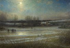 A Frosty Night - the Frozen Mill Pond by George Henry Boughton.