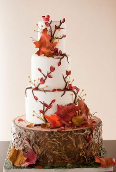 Fall-inspired, rustic wedding cake with autumn leaf toppers. I do not like the bottom tier at all but i love the leaves and the fall feel to this one!