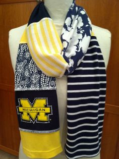 UPCYCLED t-shirt scarf... University of Michigan... U of M... Wolverines... maize & blue