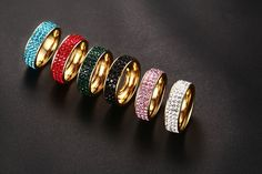 Women Crystal 18K Gold Plated Stainless Steel Rings