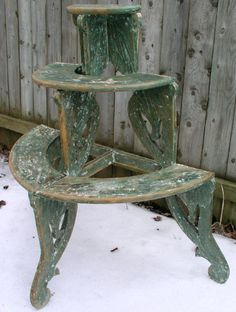 Antique Plant Stand Half Round 3 Tiers By